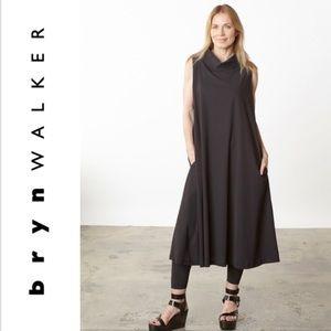 Bryn Walker Henrietta Linen Cowl Dress in  Mocha